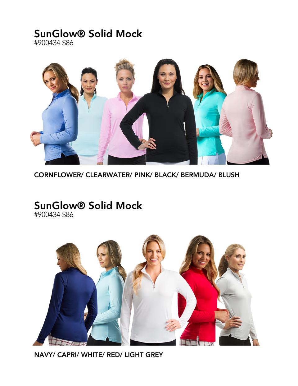 SunGlow   Solid Mock  900434  86  CORNFLOWER  CLEARWATER  PINK  BLACK  BERMUDA  BLUSH  SunGlow   Solid Mock  900434  86  N...